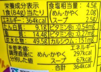 MARUCHAN QTTA(クッタ)とんこつしょうゆ味の原材料名/アレルギー/カロリー/栄養成分表示の画像