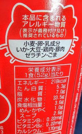 ハローキティ45周年お祝いカップ麺(しょうゆラーメン)の原材料名/アレルギー/カロリー/栄養成分表示の画像