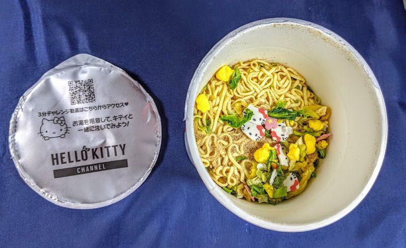ハローキティ45周年お祝いカップ麺(しょうゆラーメン)の画像