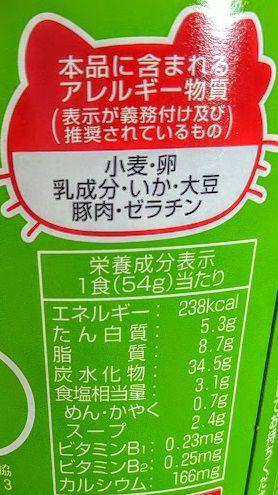ハローキティ45周年お祝いカップ麺(とんこつラーメン)の原材料名/アレルギー/カロリー/栄養成分表示の画像