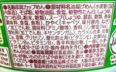 日清のどん兵衛(ねぎ油風味がおいしい豚だしそば)の原材料名/アレルギー/カロリー/栄養成分表示の画像