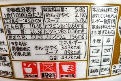 マルちゃんあつあつ豚汁うどんの原材料名/アレルギー/カロリー/栄養成分表示の画像
