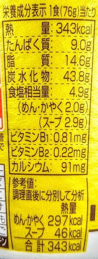 カップヌードル(黄金鶏油 鶏塩)のカロリー/栄養成分の画像
