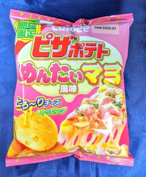 ピザポテト(めんたいマヨ風味)のパッケージ表の画像