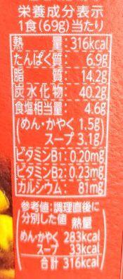 明星チャルメラ(醤油バター)の原材料名/アレルギー/カロリー/栄養成分表示の画像